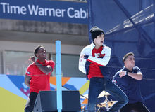 Singer Austin Mahone performs at the Arthur Ashe Kids Day 2013 at Billie Jean King National Tennis Center Stock Photography