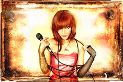 Singer. Beautiful red-haired girl with microphone in her hand (vintage background Stock Photography