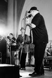 Singer Bill Fulton on stage with blues band, Jackhammer stock photos
