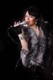 Singer on black Royalty Free Stock Photo