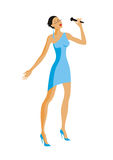 The singer in a blue dress Stock Images