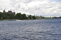 Singer Castle Island view from Thousand Islands Archipelago from Ontario Province in Canada Royalty Free Stock Images