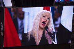 Singer Christina Aguilera Botching National Anthem Royalty Free Stock Image