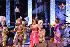 Singer and dancers thai style concert Royalty Free Stock Photos
