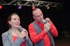 Singer duo in stage. Singer duo in the stage stock photo