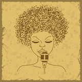Singer face silhouette with musical notes hair Royalty Free Stock Photo