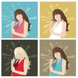 Singer girl and flat design style Stock Image