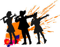 Singer girls. Vector illustration of singer little girls on stage Stock Images
