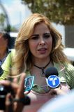 Singer Gloria Trevi being interviewd Stock Photography