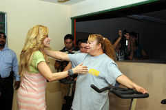 Singer gloria Trevi and inmate woman about to hug Stock Photos
