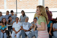 Singer gloria Trevi laughs among woaman inmates Royalty Free Stock Photos