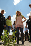 Singer gloria trevi looks small tree in prison Stock Photography