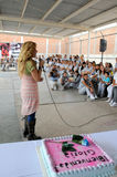 Singer gloria Trevi speaks to woman inmates. Singer Gloria Trevi speaks witha microphone to woman inmates in the visit backyard inside the womasn´s prison, they Stock Photos