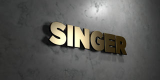 Singer - Gold sign mounted on glossy marble wall  - 3D rendered royalty free stock illustration Royalty Free Stock Photography