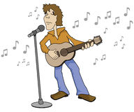 Singer with Guitar. Cartoon of a singer with a guitar and a microphone Stock Image