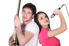 Singer and guitar player Royalty Free Stock Photo