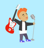 Singer Guitarist with Microphone and Guitar Royalty Free Stock Image