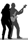 Singer and guitarist on stage Royalty Free Stock Image