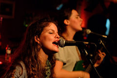 The singer of Hinds (band also known as Deers) performs at Heliogabal club Royalty Free Stock Photography