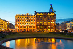 Singer House at night in Saint Petersburg, Russia stock images