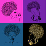singer icon with musical notes hair Royalty Free Stock Photo