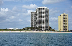 Singer Island Skyline. The skyline of Singer Island, Florida, with upscale condos on the beach stock images