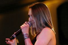 Singer Iva Zalac. Live in concert on stage at the festival Session Possible May 7, 2012 in Ludwigsburg, Germany stock photo