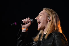 Singer Ivan Aleksander Ivanov performs on stage during the Viktor Drobysh 50th year birthday concert at Barclay Center Stock Image