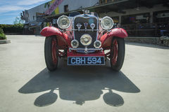 Singer 1934 Le Mans 2-Seater sports Car (front view). Claremont, USA - March 15, 2015: Vintage 1934 Singer Le Mans 2-Seater sports car on exhibit during Pi Day Royalty Free Stock Photo