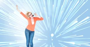 Singer with light speed perspective glow backgorund. Digital composite of Singer with light speed perspective glow backgorund Royalty Free Stock Image