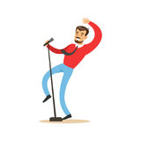 Singer man performing a song vector Illustration Royalty Free Stock Photo