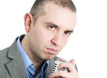 Singer man on white Stock Photography