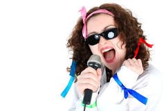 Singer with mic. Crazy 70s  -singer isolated on white Royalty Free Stock Photo