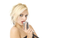 Singer and microphone Stock Photo