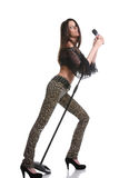 Singer with a microphone Stock Photography