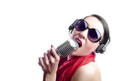 Singer with microphone Stock Photo