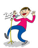 Singer with Microphone, cartoon Stock Images