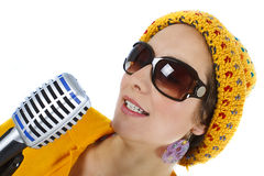 Singer with microphone in hand Stock Image