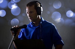 Singer with a Microphone Stock Image