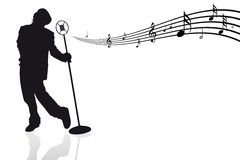 Singer with microphone and musical notes royalty free illustration