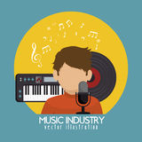 singer with microphone and piano  isolated icon design Stock Photography