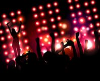 Singer with microphone welcomes a crowd of fans. Stock Image