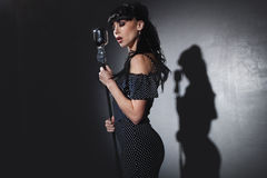 Singer with microphone Stock Image