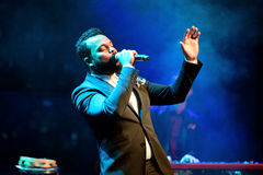 The singer of Myles Sanko (soul band) performs at Luz de Gas club Royalty Free Stock Photo