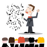 Singer with Notes and Audience Illustration Stock Photography