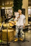 Singer performing at COEX mall. Seoul, South Korea - April 5,2018: Singer performing at COEX mall Royalty Free Stock Images