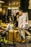 Singer performing at COEX mall. Seoul, South Korea - April 5,2018: Singer performing at COEX mall Royalty Free Stock Photography