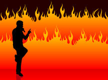 Singer performing on fire background. Original Vector Illustration: singer performing on fire background Royalty Free Stock Photo
