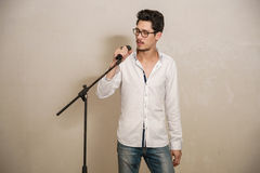 A singer is performing Royalty Free Stock Photo