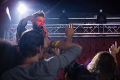 Singer performing on stage. In nightclub Royalty Free Stock Image